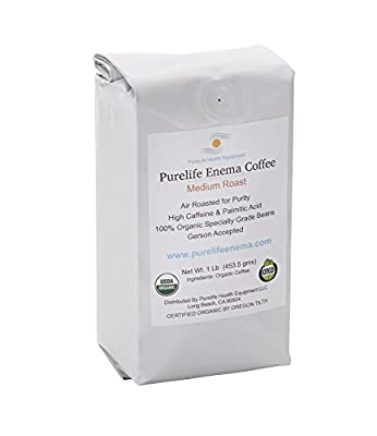 Purelife Mold-Free Coffee for Enemas /Gerson Recommended/ Medium Grind/100% Organic/ Air Roasted for Purity