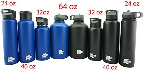 K-Cliffs Double Wall Vacuum Insulated Stainless Sport Water Bottle Thermo Travel Flask Coffee Mug with 3 Lids Straw Coffee Sport Cap BPA Free