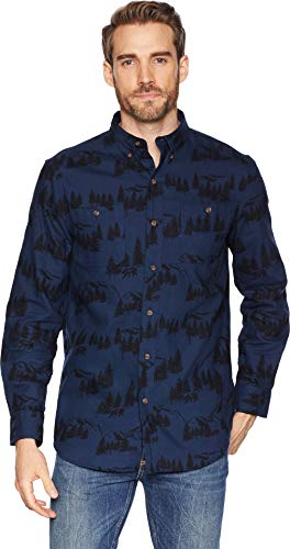 Chaps Men's Classic Fit Long Sleeve Performance Flannel Shirt, Navy/Black Multi, S from Chaps