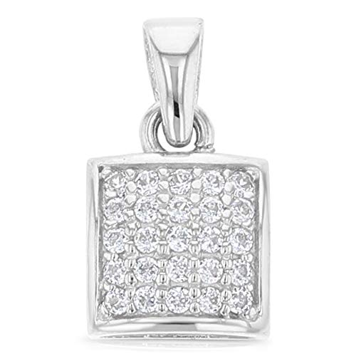 Ioka - 14K White Gold 7mm Fancy Rounded Square Cubic Zirconia CZ Charm Pendant For Necklace or Chain ()