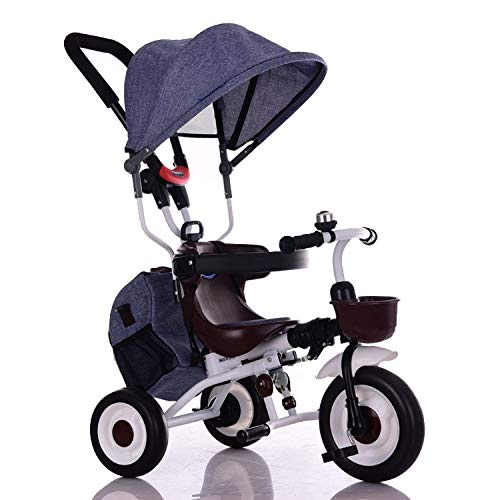 YUMEIGE Kids' Tricycles Kids Tricycle Foldable 1-6 Years Old Birthday Gift Tricycle Load Weight 25 Kg Kids Strollers Toddler Trike with Awning (Boy/Girl) Available (Color : Linen Blue)