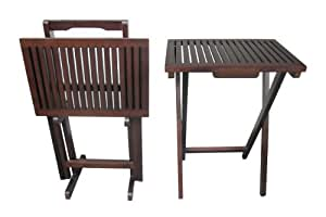 D-ART COLLECTION Mahogany TV Tray Set with 2 Tables and 1 Stand