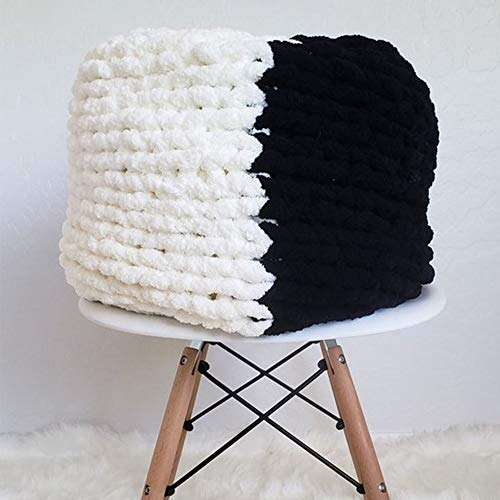 Giant Knit Chenille Blanket Throw Hand Knit Fluffy Blanket Black&CreamWhite Hand Knitted Blanket for Family Xmas Gift by FAU-Hand Knit Blanket (Image #1)
