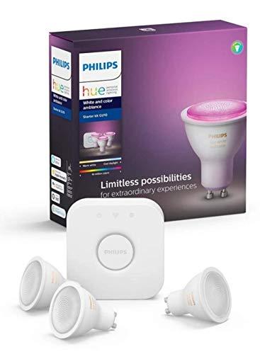 Philips Hue Starterkit – 3 Spots – GU10 – Duurzame LED Verlichting – Wit en Gekleurd Licht – Incl. Hue Bridge – Dimbaar…