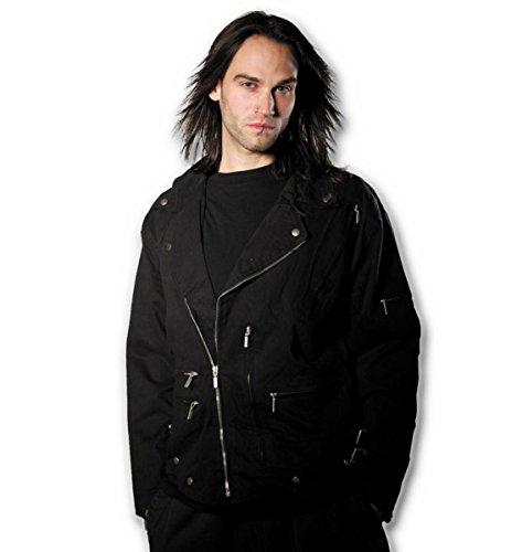 Spiral Veste de motard doublée pour homme Motif Metal Streetwear Noir