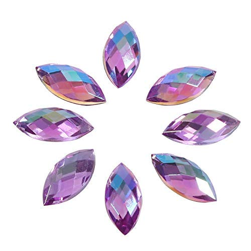 500Pcs in Bulk 7X15mm Crystal AB Acrylic Flatback Rhinestones Eye Shaped Diamond Beads for DIY Crafts Handicrafts Clothes Bag Shoes Wholesale (Color : Purple AB)