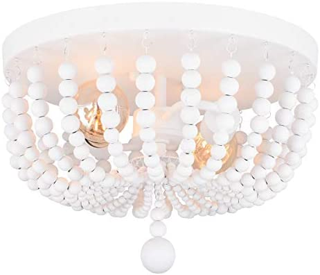 """Alice House 14.1"""" Flush Mount Ceiling Light, 2 Lights Wood Beaded Chandelier, White Farmhouse Ceiling Light for Entryway, Hallway, Bedroom and Stairway AL9031-S2"""