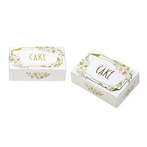 - Luck Neviti 775240 Geo Floral Box-10 Pack Cake Boxes, Pink/Peach/Gold, 10 x 6.2 x 2.5