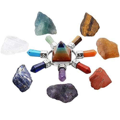 SUNYIK 7 Chakra Stones Set, Natural Rough Raw Crystal Healing Kits,with 7 Chakra Pyramid Energy Generator