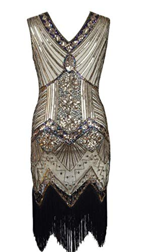 High end Factory Vintage 1920s Flapper Great Gatsby Dress 2018 Summer Fancy Costumes V-Neck Cap Sleeve Sequin Fringe Pa
