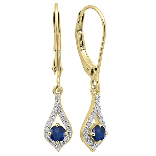 (Dazzlingrock Collection 10K Round Blue Sapphire & White Diamond Ladies Dangling Drop Earrings, Yellow Gold)