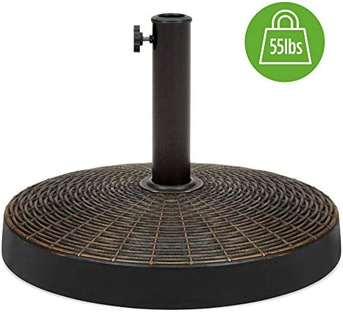 Best Choice Products Round 55lb Wicker Style Resin Patio Umbrella Base Stand w 1.75in Hole, Bronze Finish, Rust Resistant – Black