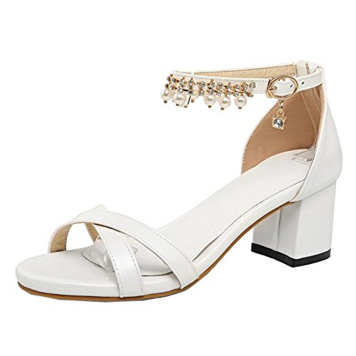 White Strap With buckle TAOFFEN Work Elegant Block Chian Women Heel High Summer Sandals fRS74qp
