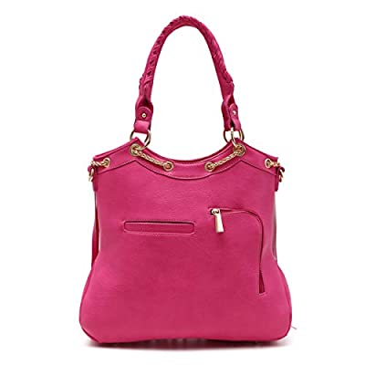 Fringe Messenger Cross-Body Elegant Chain & Tassel Detail Shoulder Women's Handbag Concealed Carry Handgun (Fuschia)