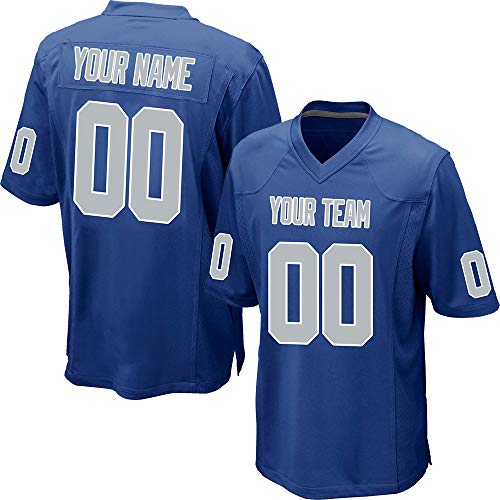 (Custom Men's Blue Mesh Football Game Jersey Stitched Team Name and Your Numbers,Silver-White Size M)