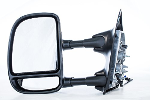 Driver Side Tow Mirror Ford Super Duty F-250, F-350 (1999 2000 2001 2002 2003) Textured Non-Heated Dual-Arm Telescopic Single Swing Type Folding Left Door Outside Rear View Mirror Replacement -