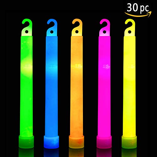 30 Ultra Bright Glow Sticks Plus 30 Party Strings - Total 60 Pcs - Bulk Pack Industrial Grade - 6 Inch Waterproof Glow Stick - Glow Light With 12 Hour Duration - Mixed Colors - Bend, Shake To Activate]()