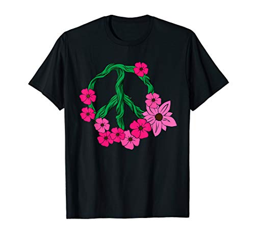 Womens Hippie Pink Flowers Shirt 60s 70s Peace Sign Garden