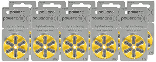 Battery 10 PowerOne (60ea/pkg) p10 Zinc Air Hearing Aid Batteries (Yellow) Size 10 Pack of 60