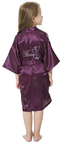 JOYTTON Girl's Satin Kimono Robe With Embroidered Flower Girl(8,Dark Purple) (Embroidered Peignoir)
