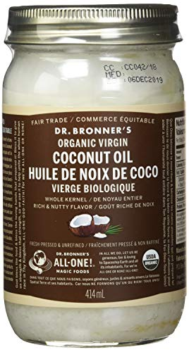 Dr. Bronner's Organic Virgin Coconut Oil. Unrefined Whole Kernel Coconut Oil Tub. (14 oz. Glass...