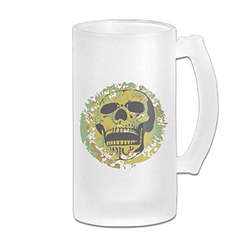 Skull Horn Camo (Camouflage Skull Mom Gift 16 Oz Frosted Glass Stein Wine Beer Mug)