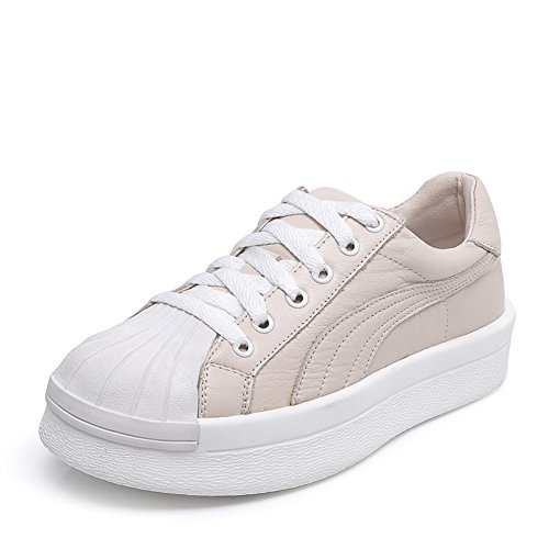 Leder Chunky Weiße Schuhe,Studenten Casual Muffin Schuhe,Damenschuhe B