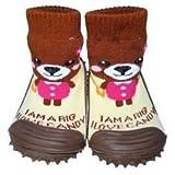 C2BB - Zapatillas-calcetines bebé niño antideslizantes suela flexible | Oso pardo - Tamaño 23