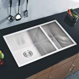 Water Creation SSS-UD-2920B 29-Inch X 20-Inch Zero Radius 70/30 Double Bowl Stainless Steel Hand Made Undermount Kitchen Sink with Drain and Strainers Premium Scratch Resistant Satin Stainless Steel