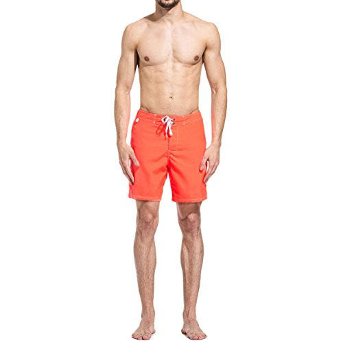 Sundek Men's Long Board Swim Shorts 32 FLUO ORANGE by Sundek