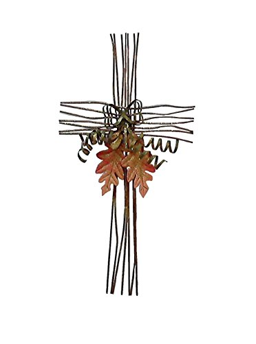 TMI Gifts F20123 Metal Cross Acorns and Leaves with a Metal Bow Wall Decor, Antique Brown with Gold, 20-Inch