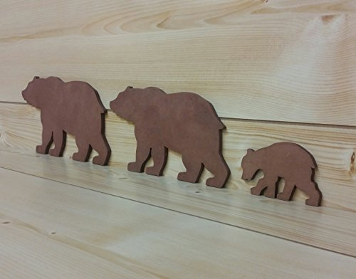 Brown Bear Family - Bear Wall Art - Bear Woodwork - Wooden Bear Silhouette - Bear Family Art - Bear Family of 3 - Animal Art