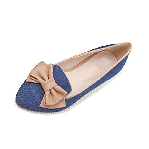 OCHENTA Ballerines Femme Avec Noeud En Jean Casual Basique A Enfiler Plat Chaussure Fille Confortable Bleu