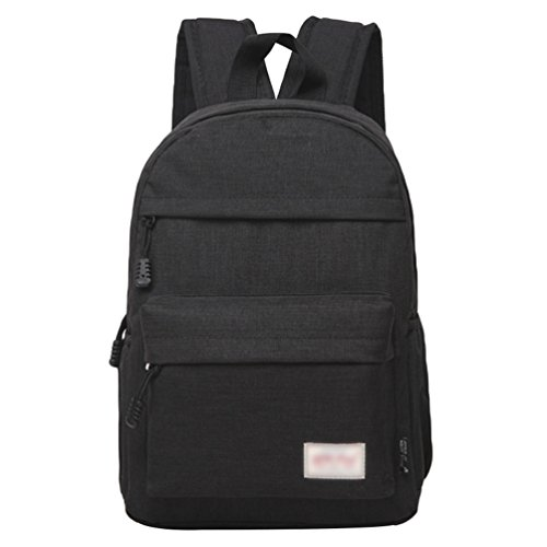 ZKOO Mochila de los Estudiantes Mujeres Hombres Mochila de Viaje Mochilas de Portátil de Lona Backpack Daypacks al Aire Libre Ocio Negro