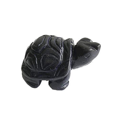 Natural Crystal Craft Animal Figurine Reiki Healing Stone Tortoise Statue Animal Figurine Reiki Healing Stone Gift Home Decor Figurines (Blue Sandstone)
