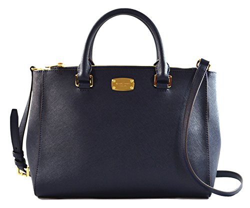 MICHAEL KORS WOMEN'S KELLEN MEDIUM SATCHEL LEATHER Shoulder Handbags - Blue And Kors White Michael Handbag Navy
