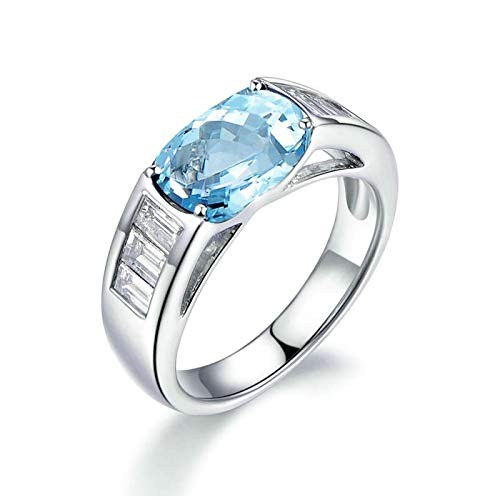 - Bishilin Sterling Rings for Women 925 White Gold Topaz Womens Ring Dainty s925 Sterling Silver Rings for Women Size 4
