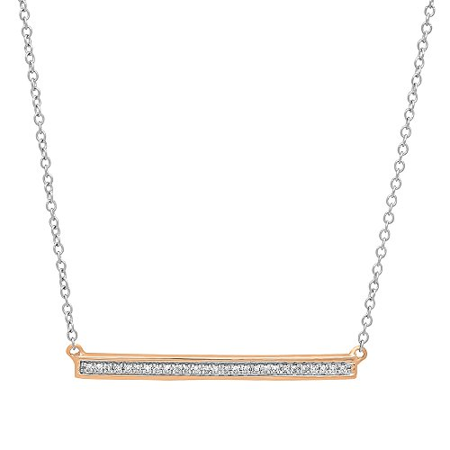 Dazzlingrock Collection 0.12 Carat (ctw) 14K White Diamond Bar Shape Fashion Pendant with 18 Inch Silver Chain, Rose Gold