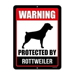 Honey Dew Gifts Rottweiler Sign Warning Protected by Rottweiler 9 x 12 Inch Beware of Dog Warning Metal Aluminum Tin Sign - Beware of Dog Signs for Fence 3