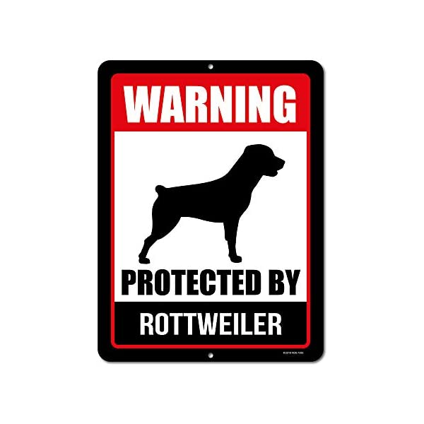 Honey Dew Gifts Rottweiler Sign Warning Protected by Rottweiler 9 x 12 Inch Beware of Dog Warning Metal Aluminum Tin Sign - Beware of Dog Signs for Fence 1