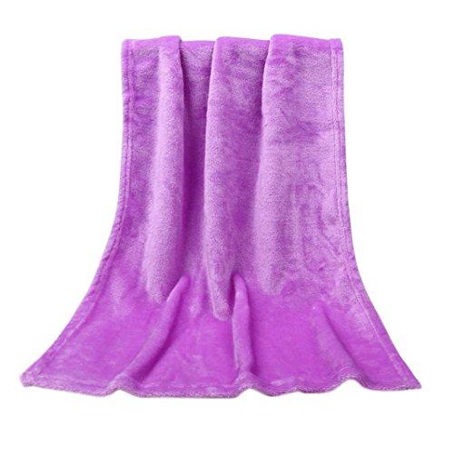 YJYdada 45X65CM Fashion Solid Soft Throw Kids Blanket Warm Coral Plaid Blankets Flannel (Purple)