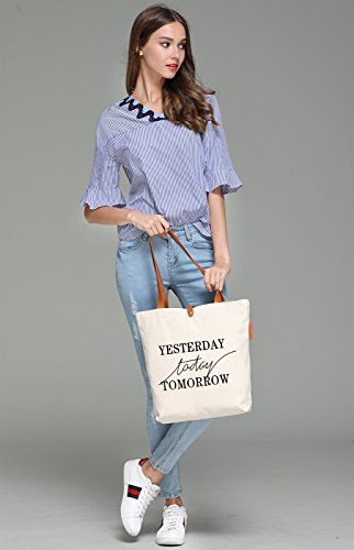 So'each Women's Yesterday Today Tomorrow Top Handle Canvas Tote Shoulder Bag