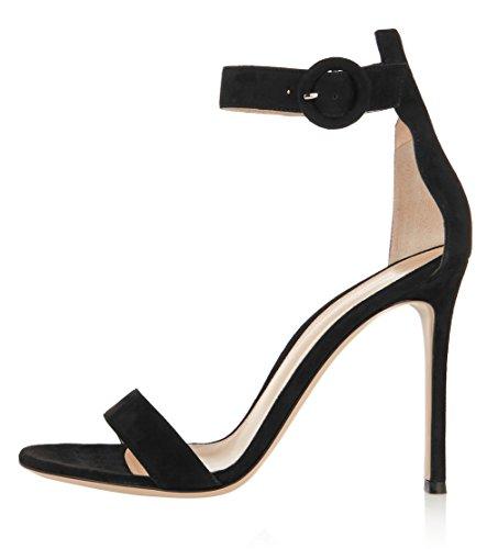 uBeauty Womens High Heel Ankle Strap Sandals Open Toe Buckle Shoes Peep Toe Stiletto Heels for Party 12cm Black Sued Heel 12cm