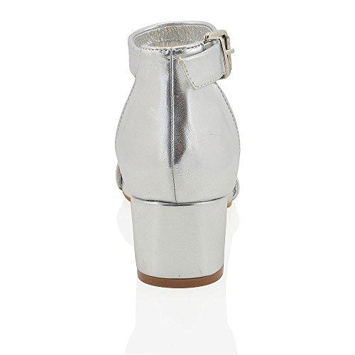 Strap Peep Low Metallic 8 3 GLAM ESSEX Ladies Toe Silver Size Block Shoes Sandals Womens Heel Ankle Buckle qwv4xXtF