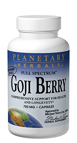 (Planetary Herbals Goji Berry Full Spectrum 700mg, Botanical Elixir for Health and Longevity,180 Vegetarian)