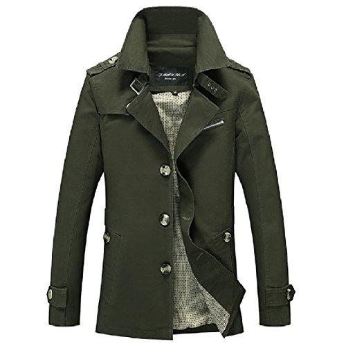 RkBaoye Men Plus-Size Single-breasted Lapel Cardi Windbreaker Jacket Coat Army Green
