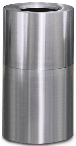 Crown Collection Open-top Trash Can, Satin Aluminum, 35 (35 Gal Open Top Receptacle)