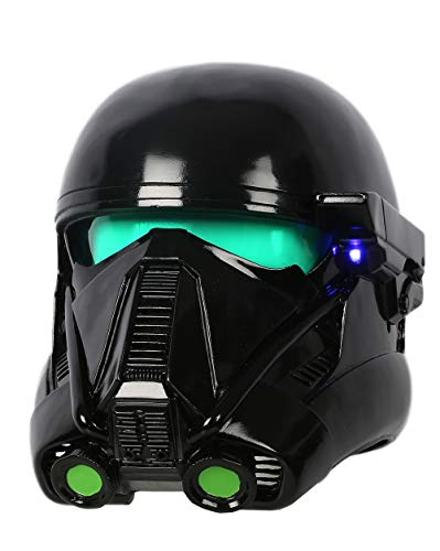 xcoser Rogue Troopers Cosplay Helmet Deluxe Black Soft Resin Mask with LEDs