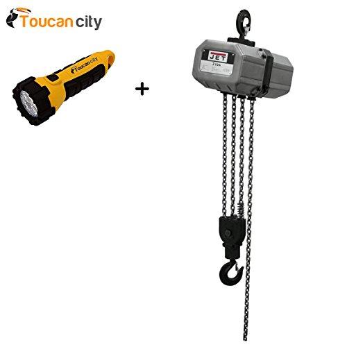 - Toucan City LED flashlight and JET 3-Ton Capacity 15 ft. Lift Electric Chain Hoist 1-Phase 115/230-Volt 3SS-1C-15 311500