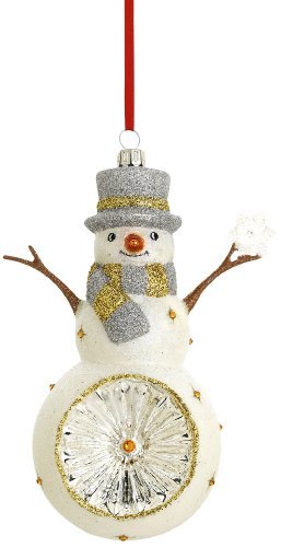 Reed & Barton Snowman with Snowflake Reflector Christmas Ornament, 5-1/2-Inch Reed & Barton Snowman